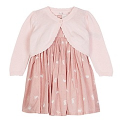J by Jasper Conran - Designer babies pink bunny dress and cardigan set