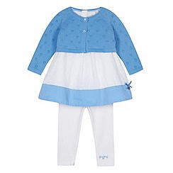 J by Jasper Conran - Designer babies blue cardigan, tunic and leggings set