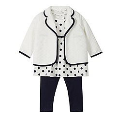 J by Jasper Conran - Designer babies navy spotted tunic, jacket and leggings set