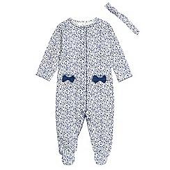 J by Jasper Conran - Designer babies navy ditsy floral sleep suit
