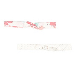 J by Jasper Conran - Pack of two designer babies pink spotted and floral headbands