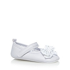 J by Jasper Conran - Designer babies white spotted bow shoes