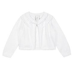 J by Jasper Conran - Designer babies white frill trim cropped cardigan