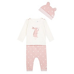 J by Jasper Conran - Designer babies pink bunny top, hat and trousers set