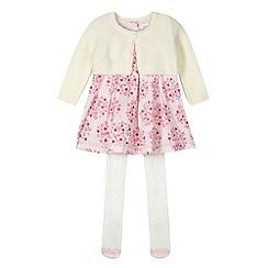 RJR.John Rocha - Designer babies pink floral dress, cardigan and tights
