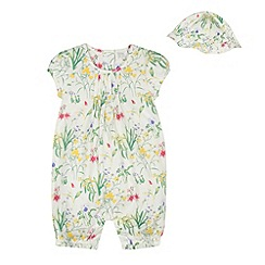 RJR.John Rocha - Designer babies white floral romper suit and hat set