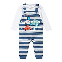 bluezoo - Babies blue vehicle applique dungarees and bodysuit set