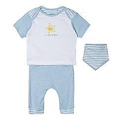 bluezoo - Babies light blue top, joggers and bib set