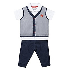 bluezoo - Babies navy waist coat, polo shirt and jogging bottom set