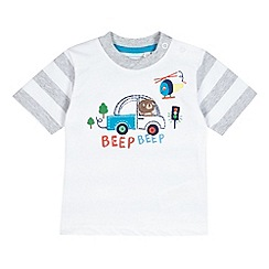 bluezoo - Babies white 'Beep Beep' short sleeved t-shirt