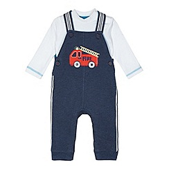bluezoo - Babies navy fire truck dungaree set