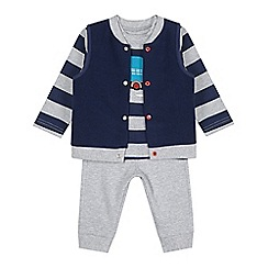 bluezoo - Babies blue striped lorry gilet, top and bottoms set