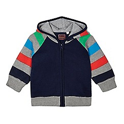 bluezoo - Baby boys' navy stripe knit hooded cardigan