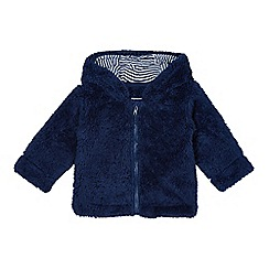 bluezoo - Babies navy fleece ear hooded jacket