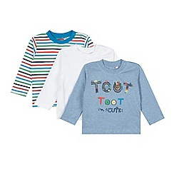 bluezoo - Pack of three babies blue 'Toot Toot' striped tops