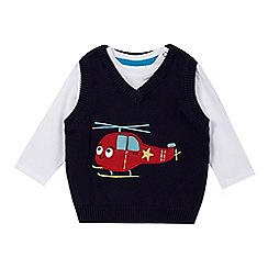 bluezoo - Babies navy helicopter tank top and top set