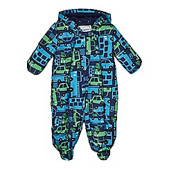 bluezoo - Babies navy transport print padded snowsuit