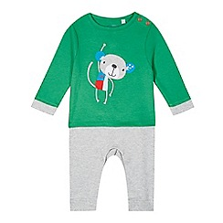 bluezoo - Babies green monkey applique romper suit