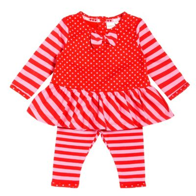 Babys Red Dress And Leggings Set