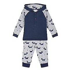 bluezoo - Babies grey dog printed hoodie and jogging bottoms set