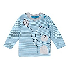 bluezoo - Babies blue striped bear graphic top