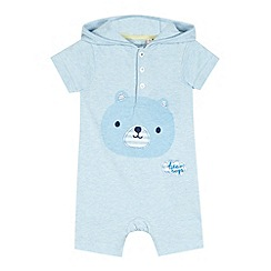 bluezoo - Babies light blue bear print romper suit