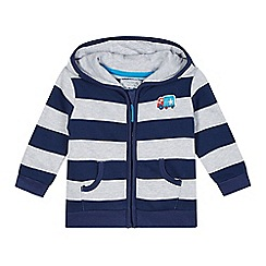 bluezoo - Babies navy striped hooded sweat jacket