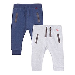 J by Jasper Conran - Pack of two designer babies navy and grey jogging bottoms