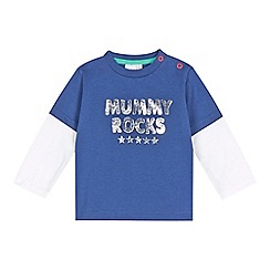 bluezoo - Babies navy 'Mummy Rocks' mock sleeve top