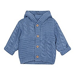 bluezoo - Baby boys' blue cable knit cardigan