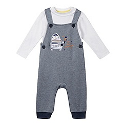 bluezoo - Baby boys' blue penguin dungarees and bodysuit set