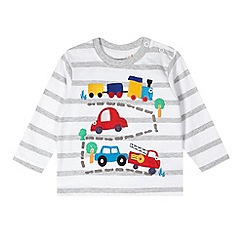 bluezoo - Babies white striped toy car applique top