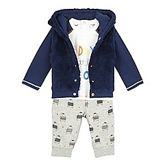 bluezoo - Baby boys' blue 'Daddy's hero' hoodie, top and leggings set