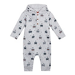 bluezoo - Baby boys' grey penguin hooded romper suit