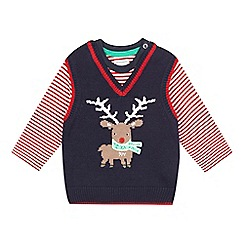 bluezoo - Baby boys' red reindeer tank and t-shirt set