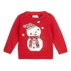 bluezoo - Baby boys' red snowman jumper