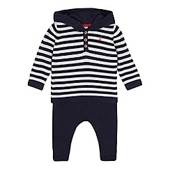 J by Jasper Conran - Baby boys' navy striped hoodie and bottoms set