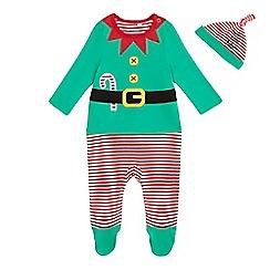 bluezoo - Baby boys' green elf sleepsuit and hat set