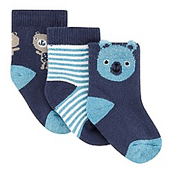 bluezoo - Pack of three babies navy teddy bear socks