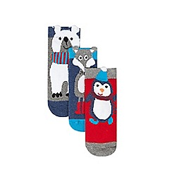 bluezoo - Pack of three baby boys' blue animal print socks