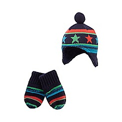 bluezoo - Baby boys' navy star knit trapper hat and mittens set
