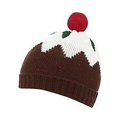 bluezoo - Babies brown Christmas pudding beanie hat