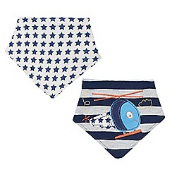 bluezoo - Pack of two babies navy helicopter and star printed dribble bibs