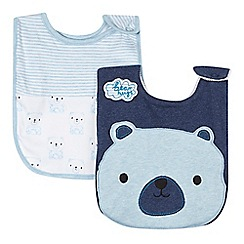 bluezoo - Pack of two babies blue teddy bear bibs