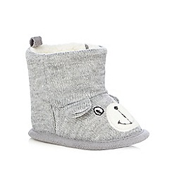 bluezoo - Babies grey bear knitted booties