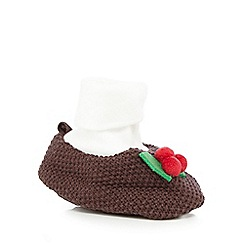 bluezoo - Brown knitted Christmas pudding booties