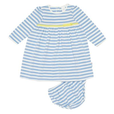 Babys Pale Blue And White Striped Dress And Knickers Set