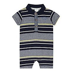 J by Jasper Conran - Designer babies navy striped polo romper suit