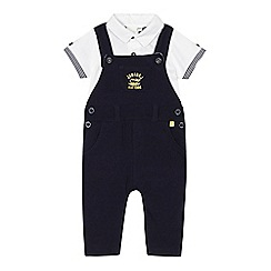 J by Jasper Conran - Designer babies navy pique dungarees and polo shirt set