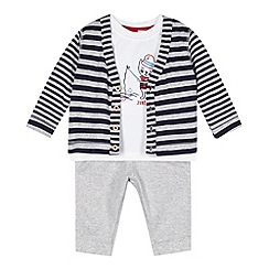 J by Jasper Conran - Designer babies white cardigan, t-shirt and bottoms set
